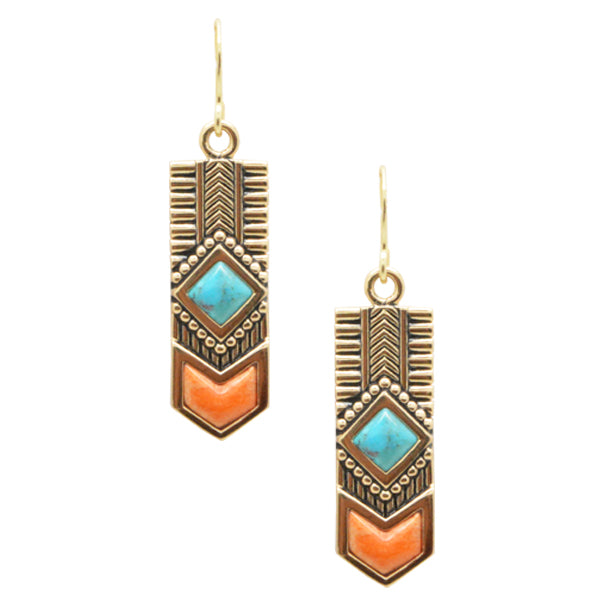 Turquoise and Coral Totem Earring-Bronze