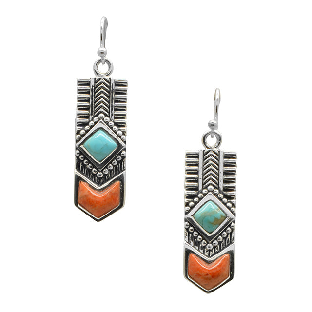 Turquoise and Coral Totem Earring-Sterling Silver