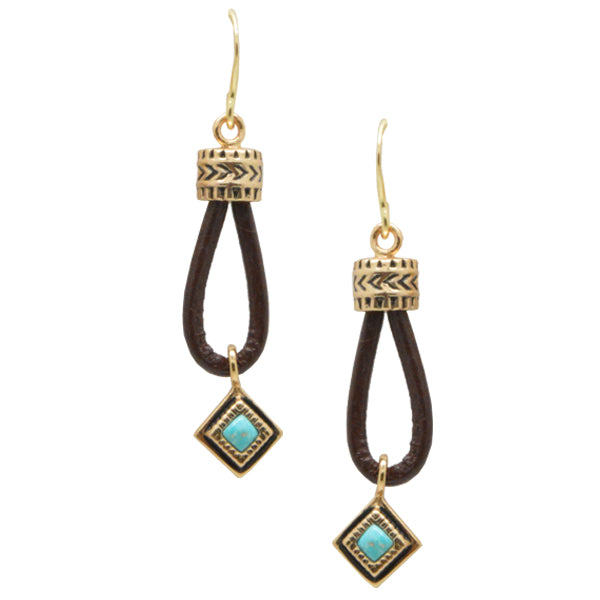 Looped Leather and Turquoise Earring