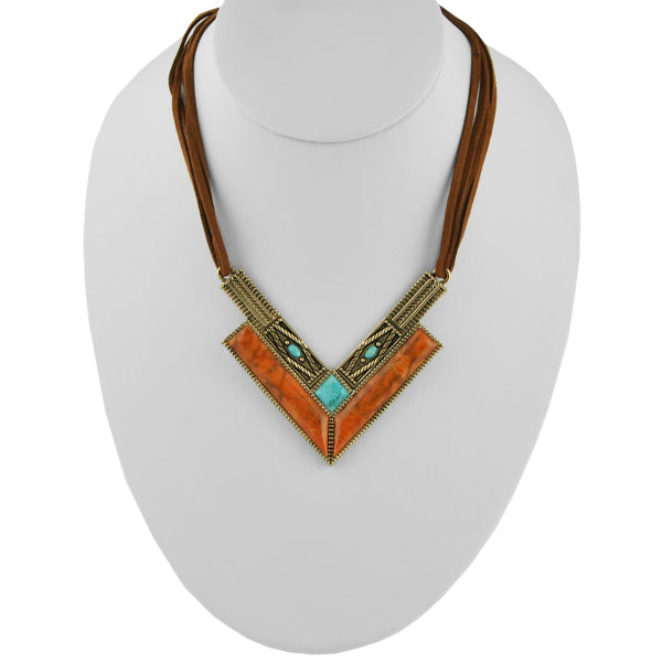 Rattler Geometric Stone Necklace-Bronze