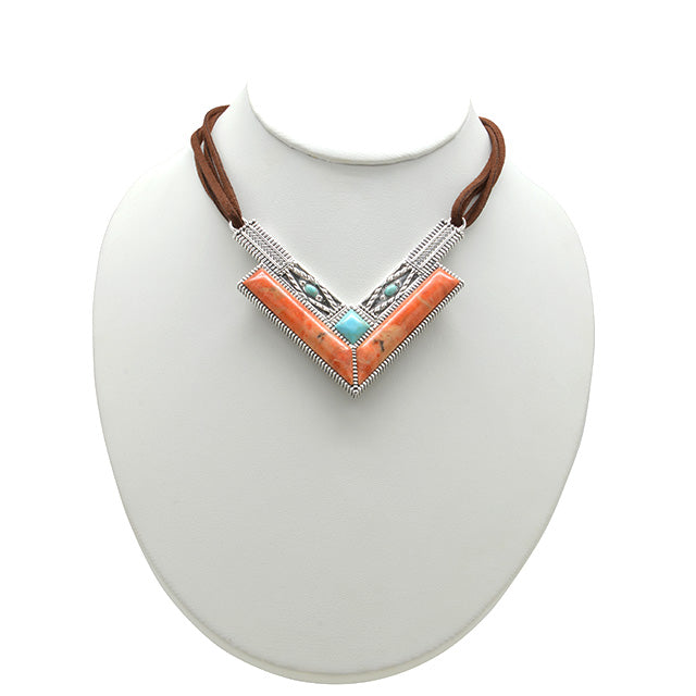 Rattler Geometric Stone Necklace-Sterling Silver