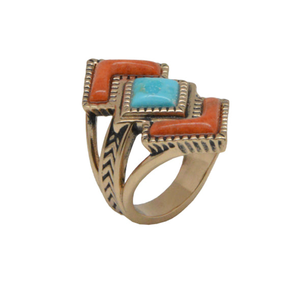 Rattler Geometric Stone Ring-Bronze