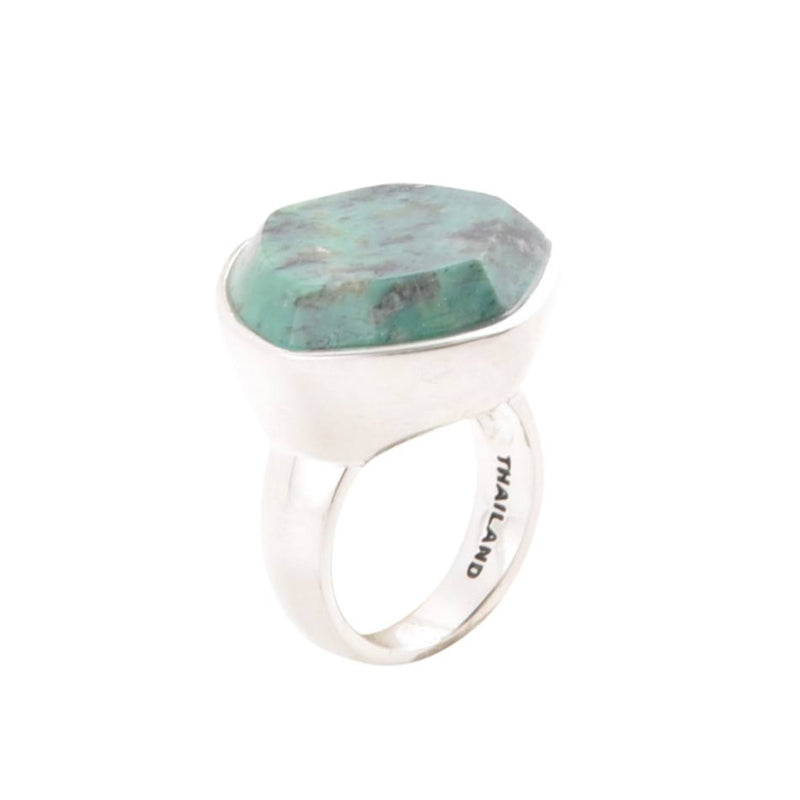 Five Sided Green Turquoise Ring-Silver Overlay