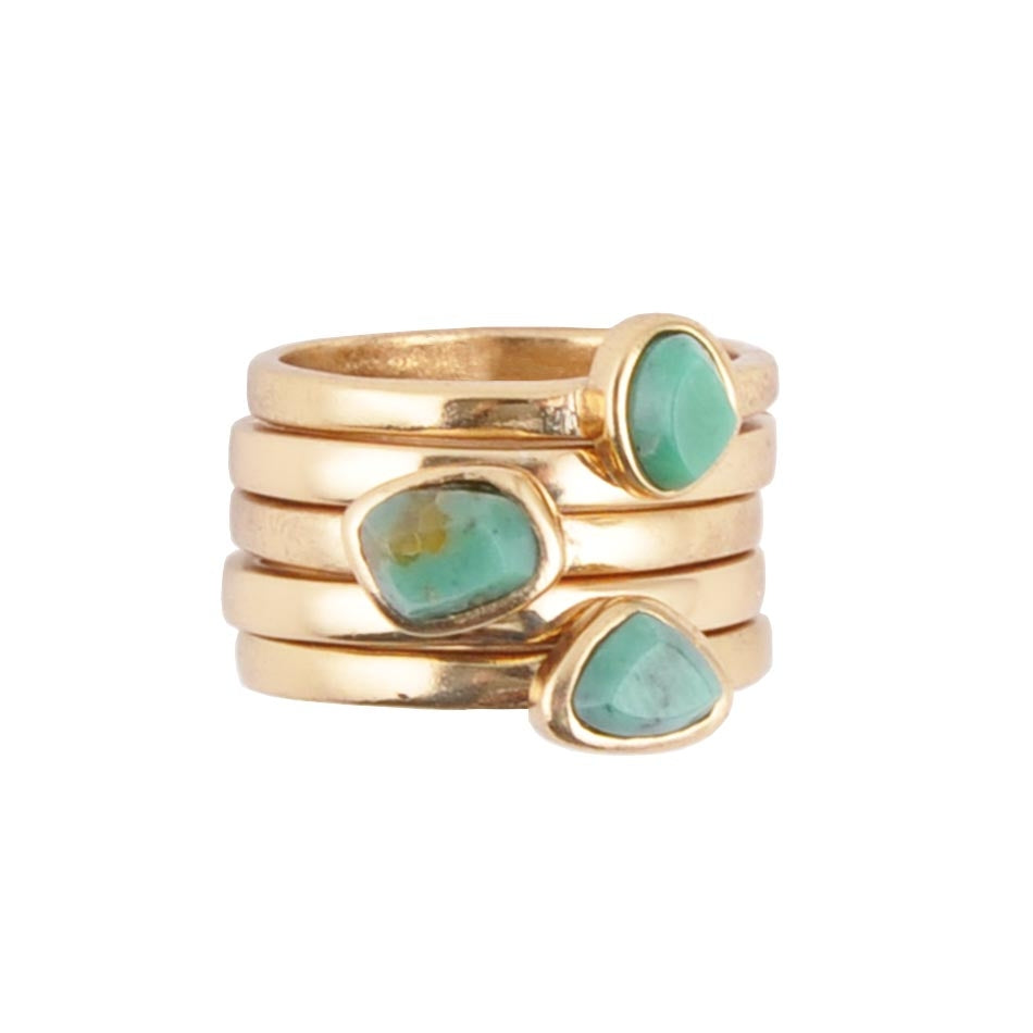 So Extra Chrysocolla Stack Ring-Bronze