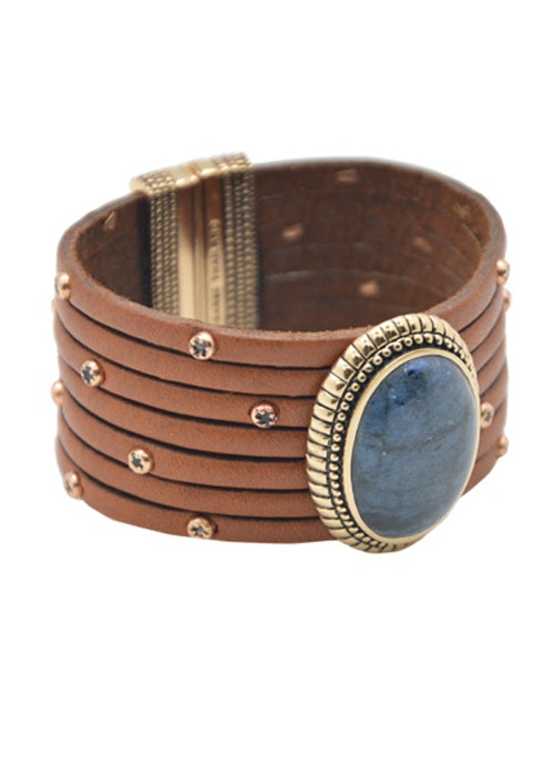 Hand Tooled Leather Magnetic Bracelet-Dumorterite