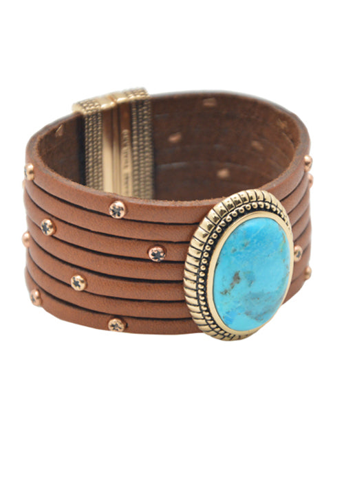 Hand Tooled Leather Magnetic Bracelet-Turquoise