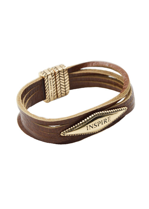"Brown Leather ""Inspire"" Magnetic Bracelet"