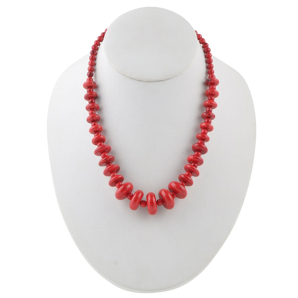 Buttoned Up Red Magnesite Necklace
