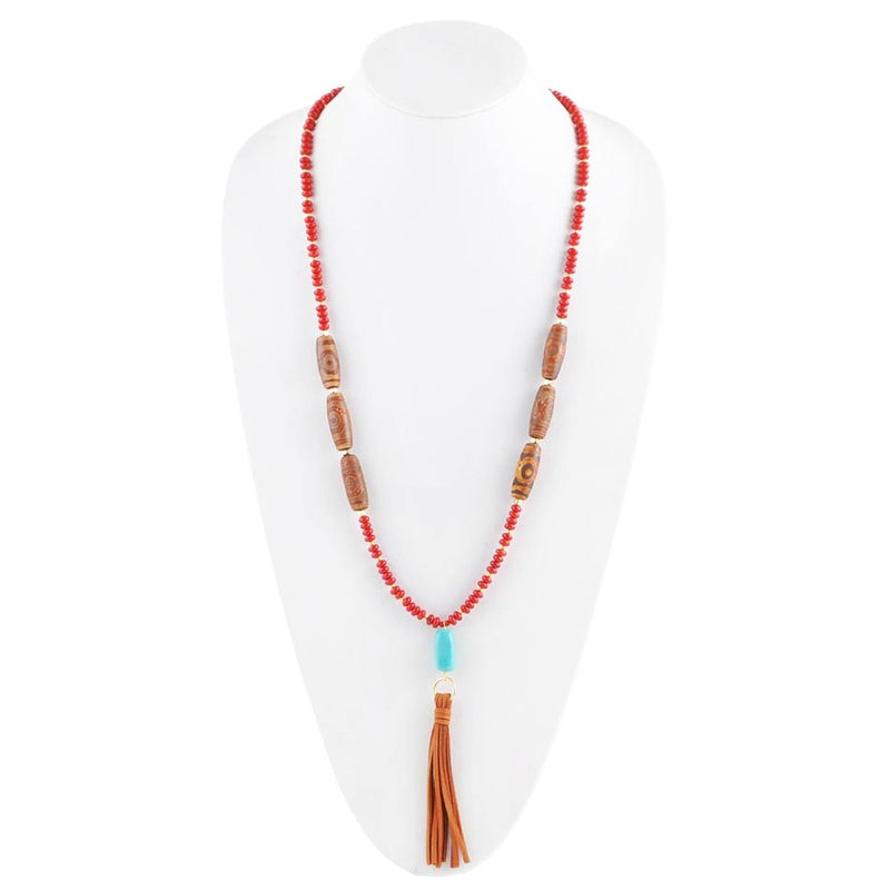Red-y for Anything Tassel Necklace