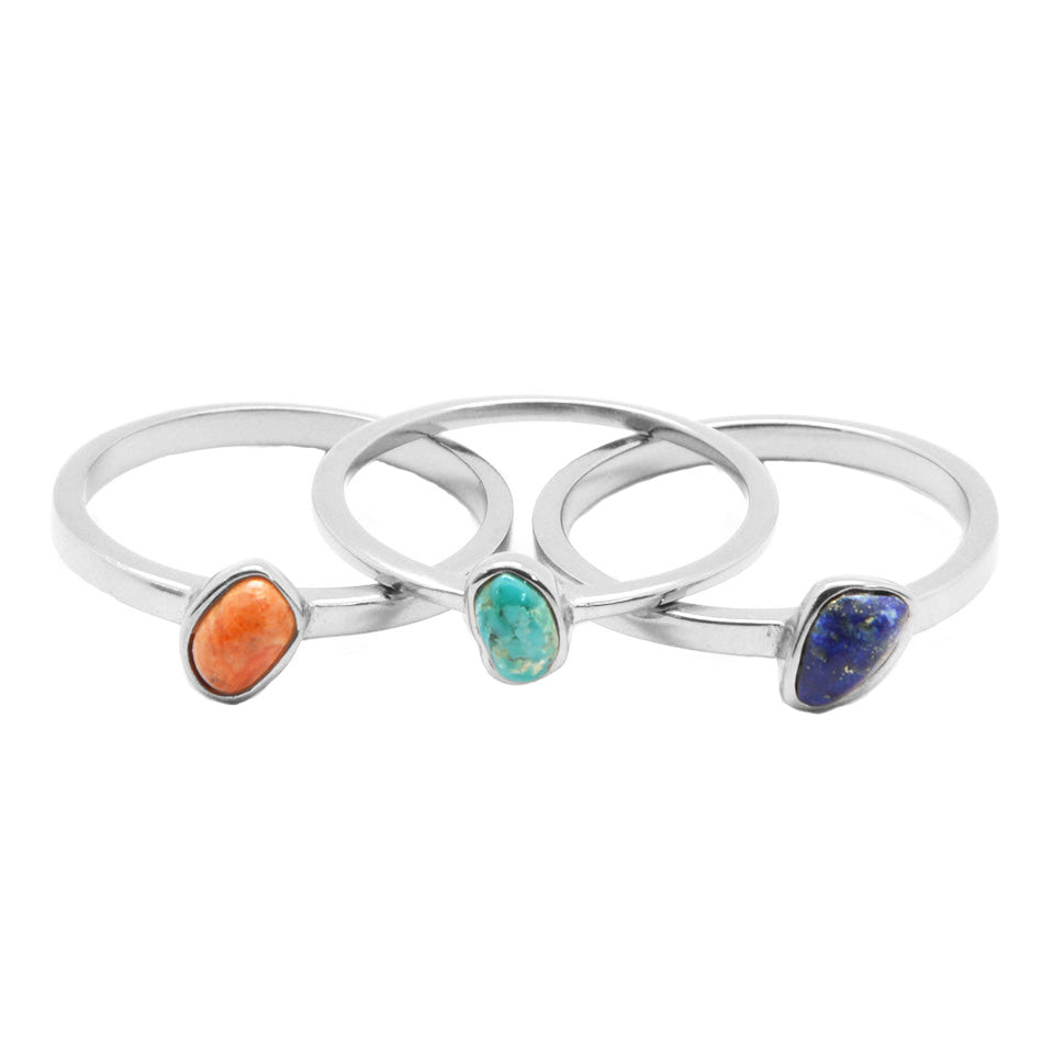 123 Stack Ring- Turquoise Coral and Lapis