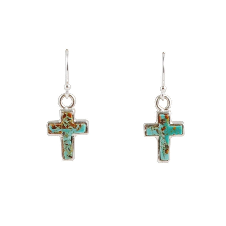 Touch of Turquoise Cross Earring