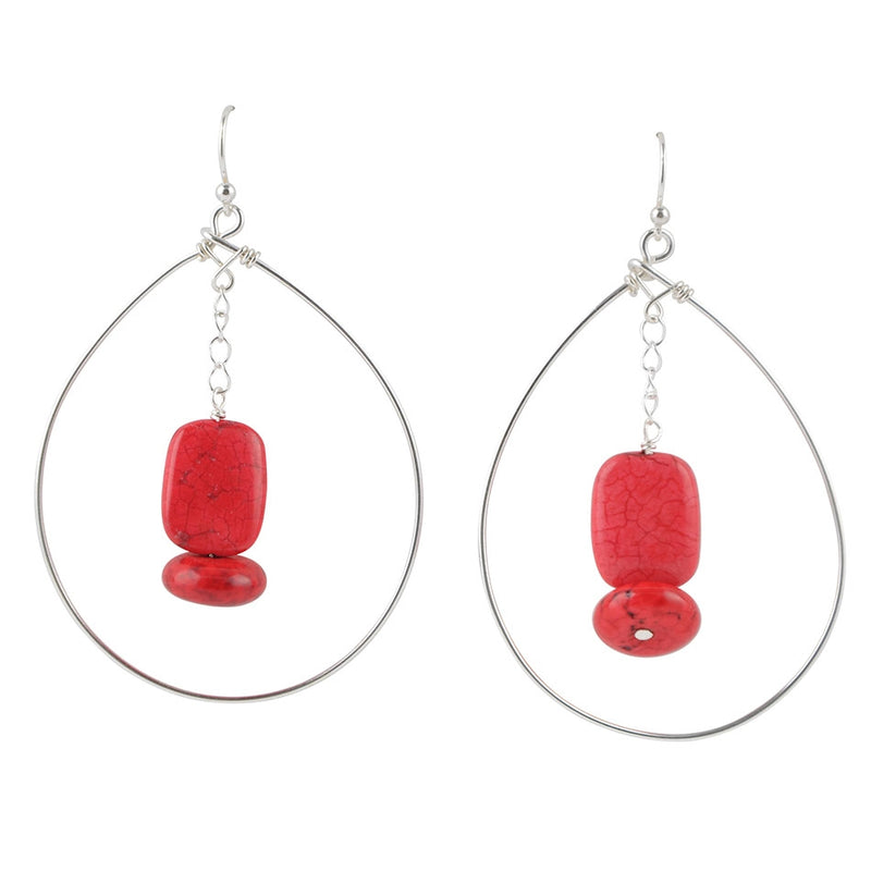 Hypnotic Earring- Red Bamboo Coral