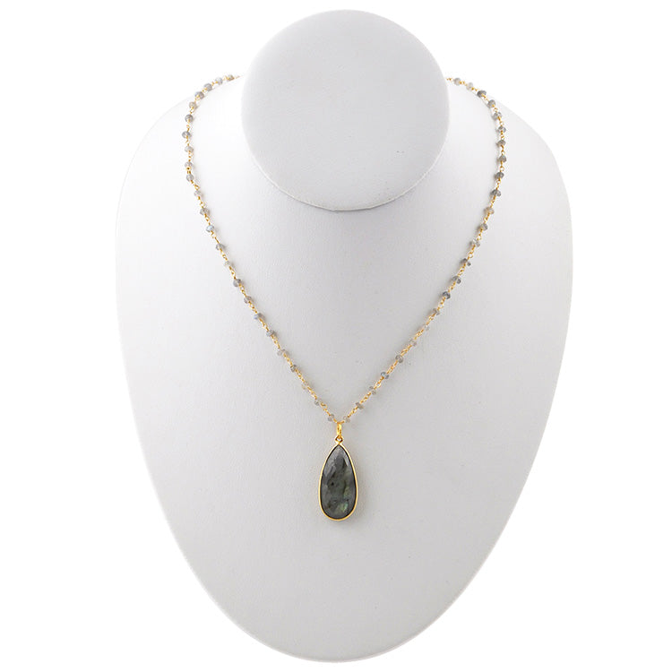 Kate Gold Tone Necklace- Labradorite