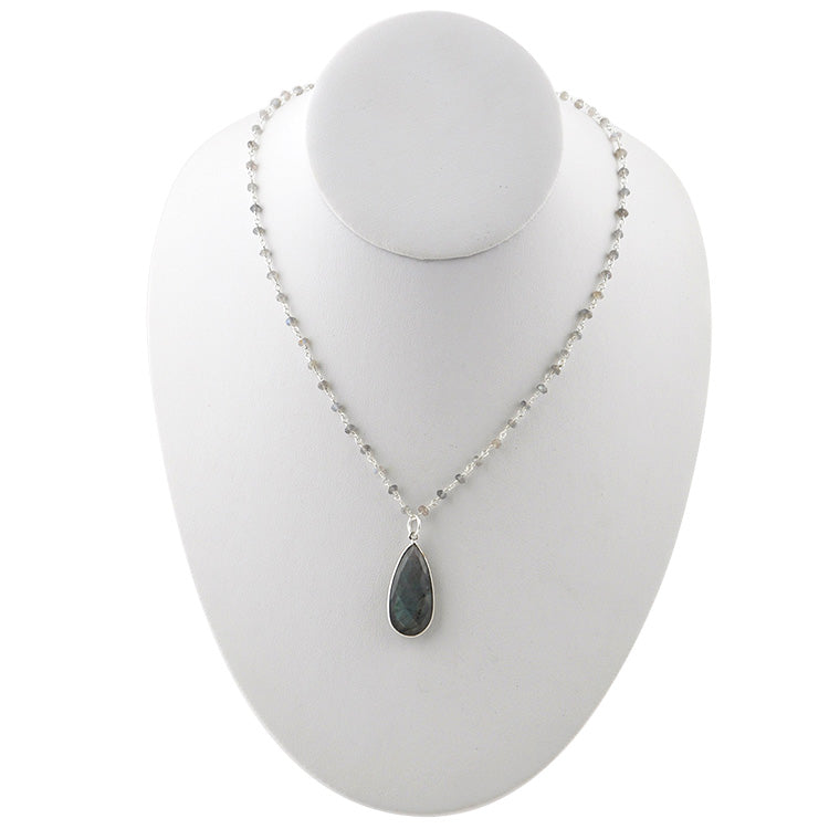 Kate Silver Tone Necklace-Labradorite