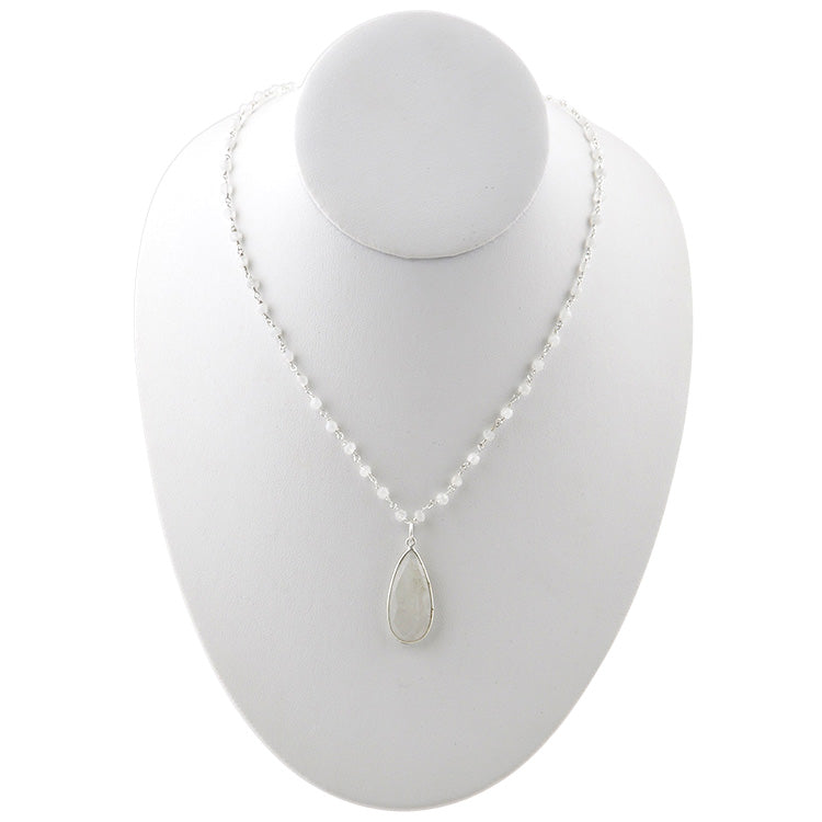 Kate Silver Tone Necklace-Moonstone