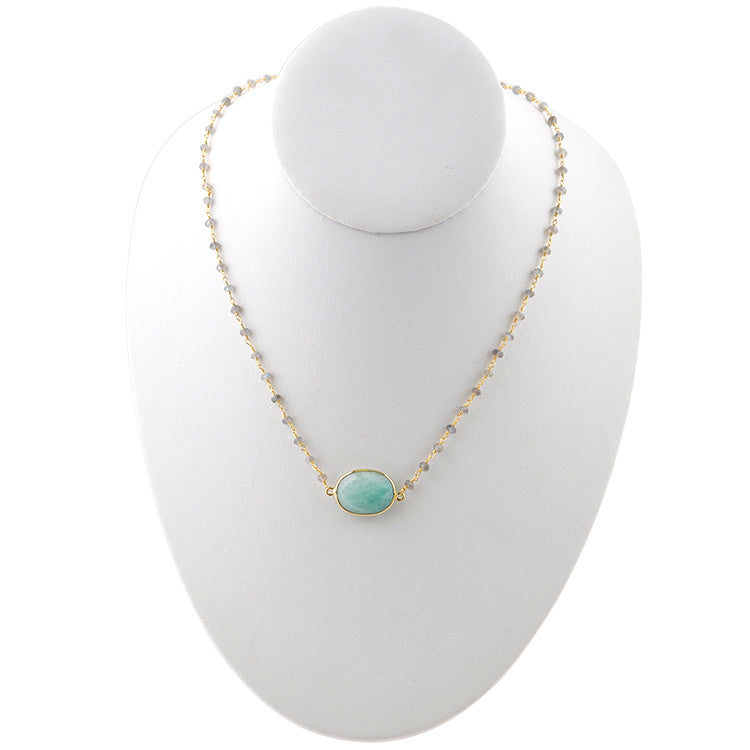 Charlotte Gold Tone Necklace- Amazonite & Labradorite
