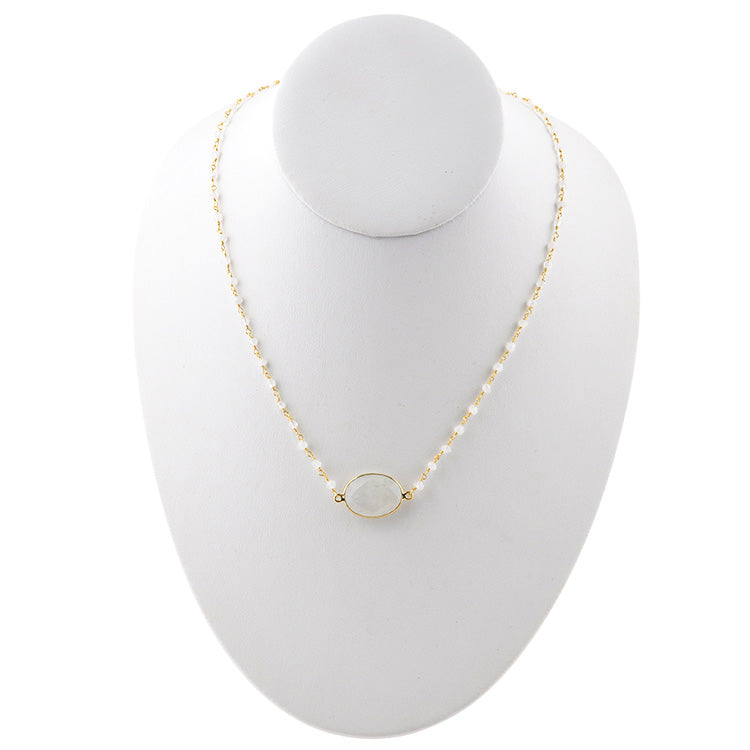 Charlotte Gold Tone Necklace- Moonstone