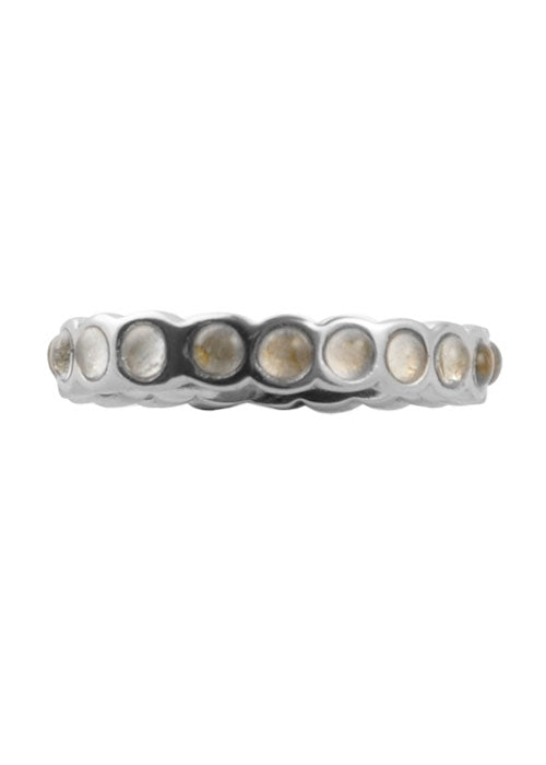 Single Crystal Band Stack Ring Silver