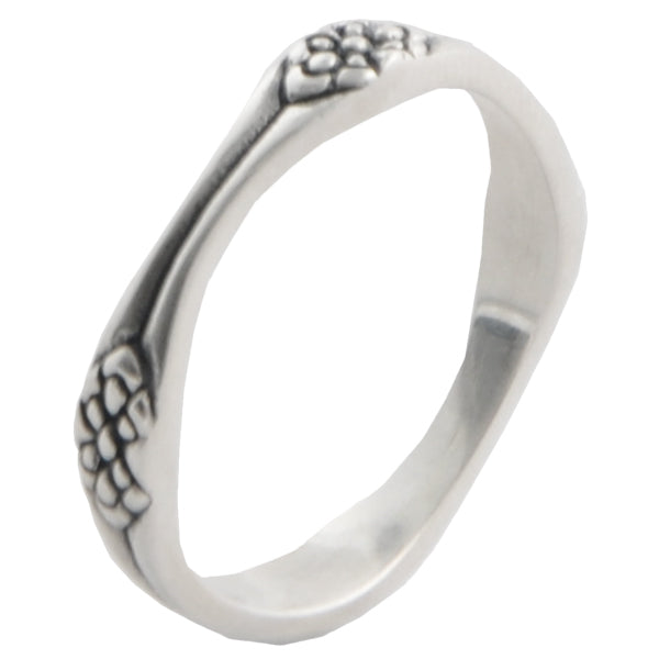 Sterling Silver Floral Band Stack Ring