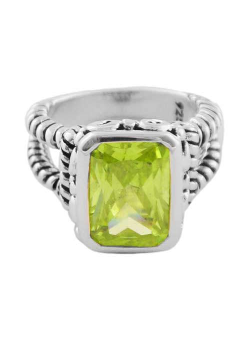 Faceted Green Rectangle Crystal Ring