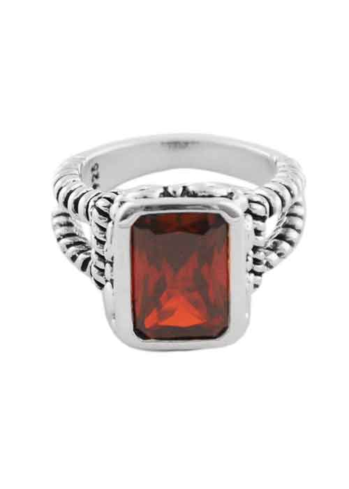 Faceted Red Rectangle Crystal Ring
