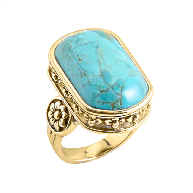Belle Fleur Turquoise and Bronze Ring