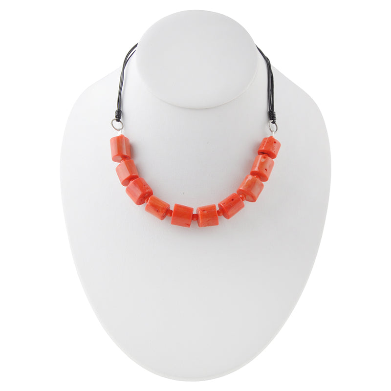 Orange Bamboo Coral Necklace