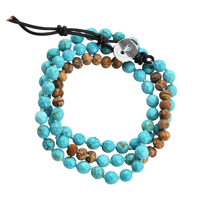 Genuine Stone Wrap Bracelet- Turquoise and Picture Jasper