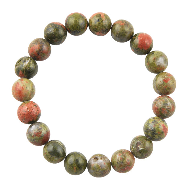 Polished Bead Bracelet-Unakite