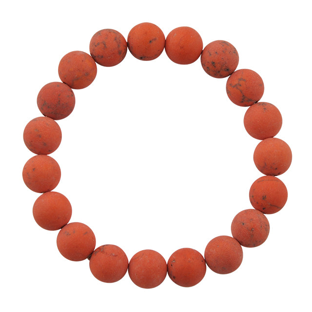 Matte Bead Bracelet-Orange Magnesite