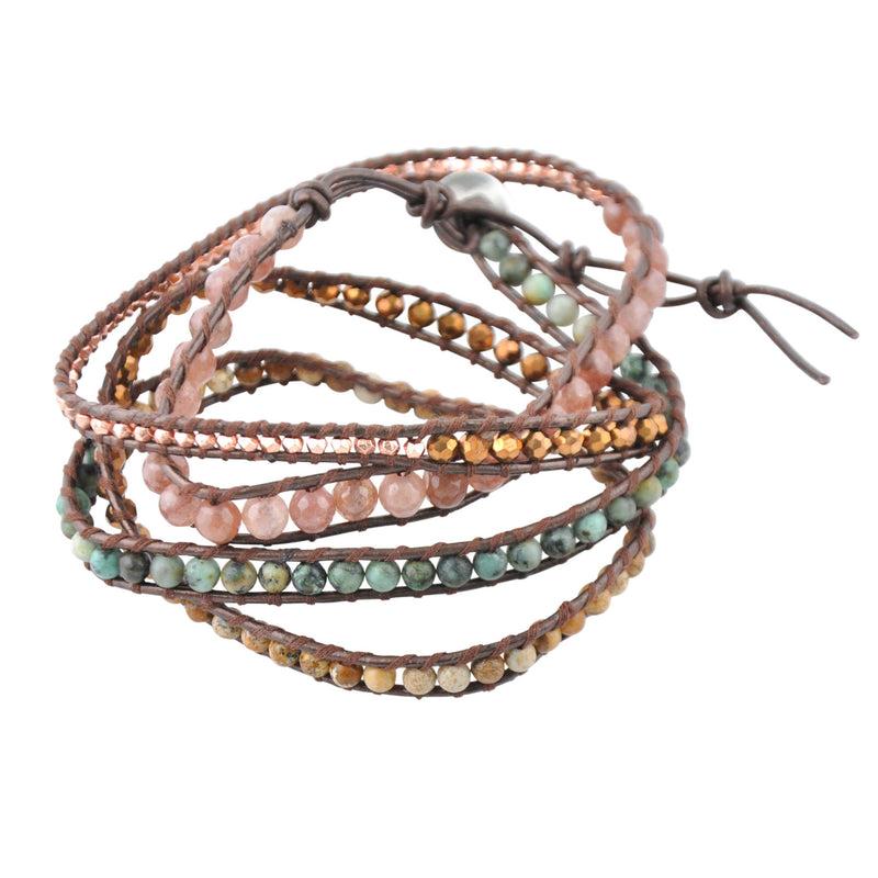 Genuine Stone Wrap Bracelet- African Turquoise, Jasper and Pink Agate