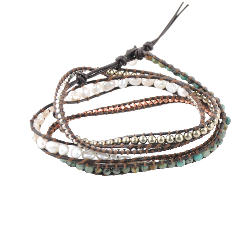 Genuine Stone Wrap Bracelet- African Turquoise, White Pearl and Green Pearl