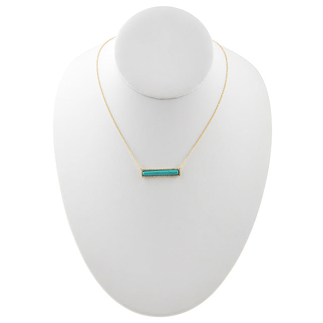 Bar None Necklace-Turquoise and Vermeil