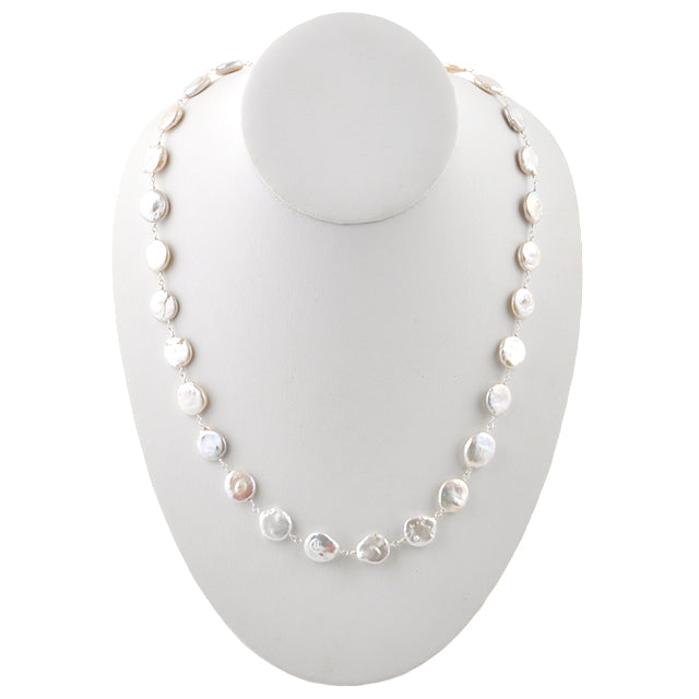 Coin Pearl Necklace- 26-28""