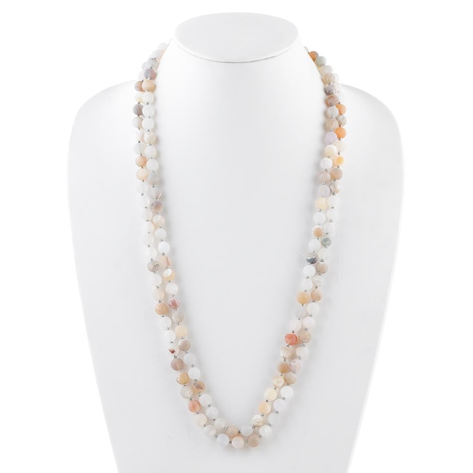 Immeasurable Bead Necklace- Matte Dove Agate
