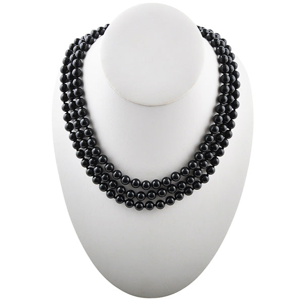 Immeasurable Polished Bead Necklace- Black Onyx