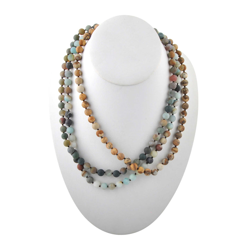 Immeasurable Matte Bead Necklace-Amazon, Jasper, and Agate