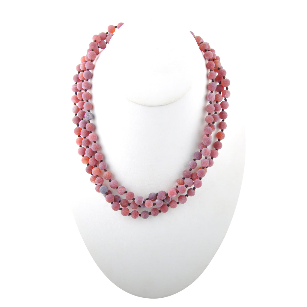Immeasurable Matte Bead Necklace-Pink Agate
