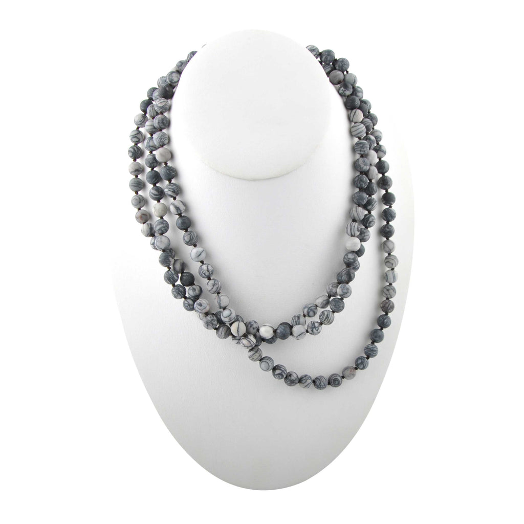 Immeasurable Matte Bead Necklace-Zebra Jasper