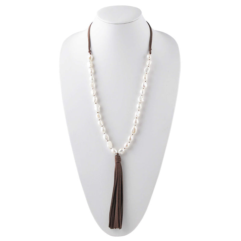 Uptown Urban Pearl and Leather Necklace