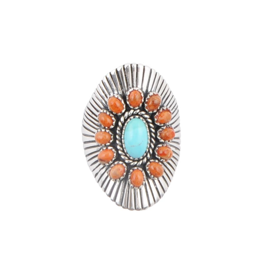 Orange and Turquoise Sunburst Ring