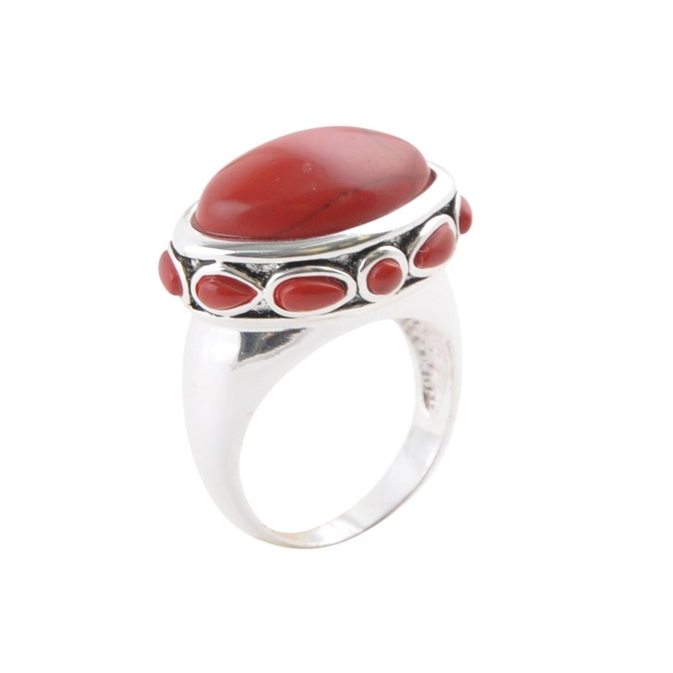 Red Magnesite Dotted Oval Ring