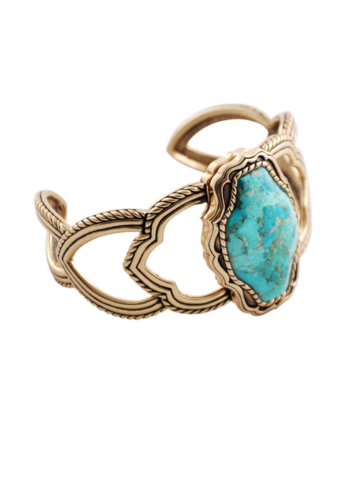 Turquoise and Bronze Cutwork Bracelet