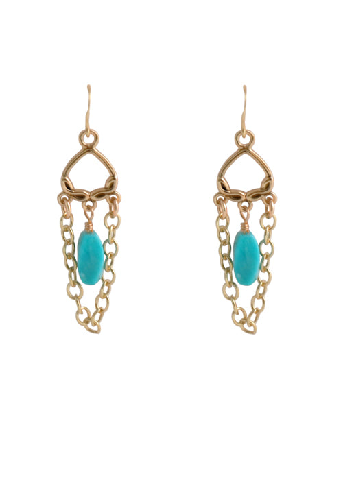 Turquoise Bronze Chain Earring