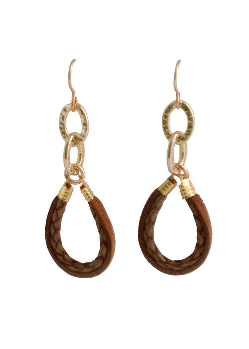 Braided Leather Lariat Earring-Bronze