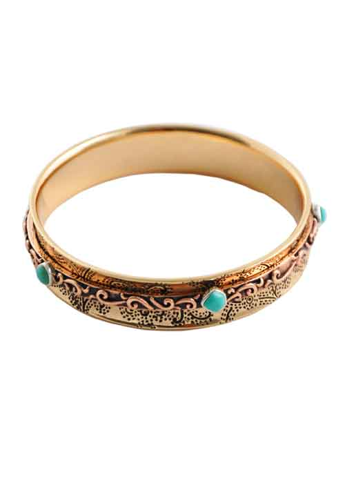 Bronze and Copper Lucky Bangle Bracelet