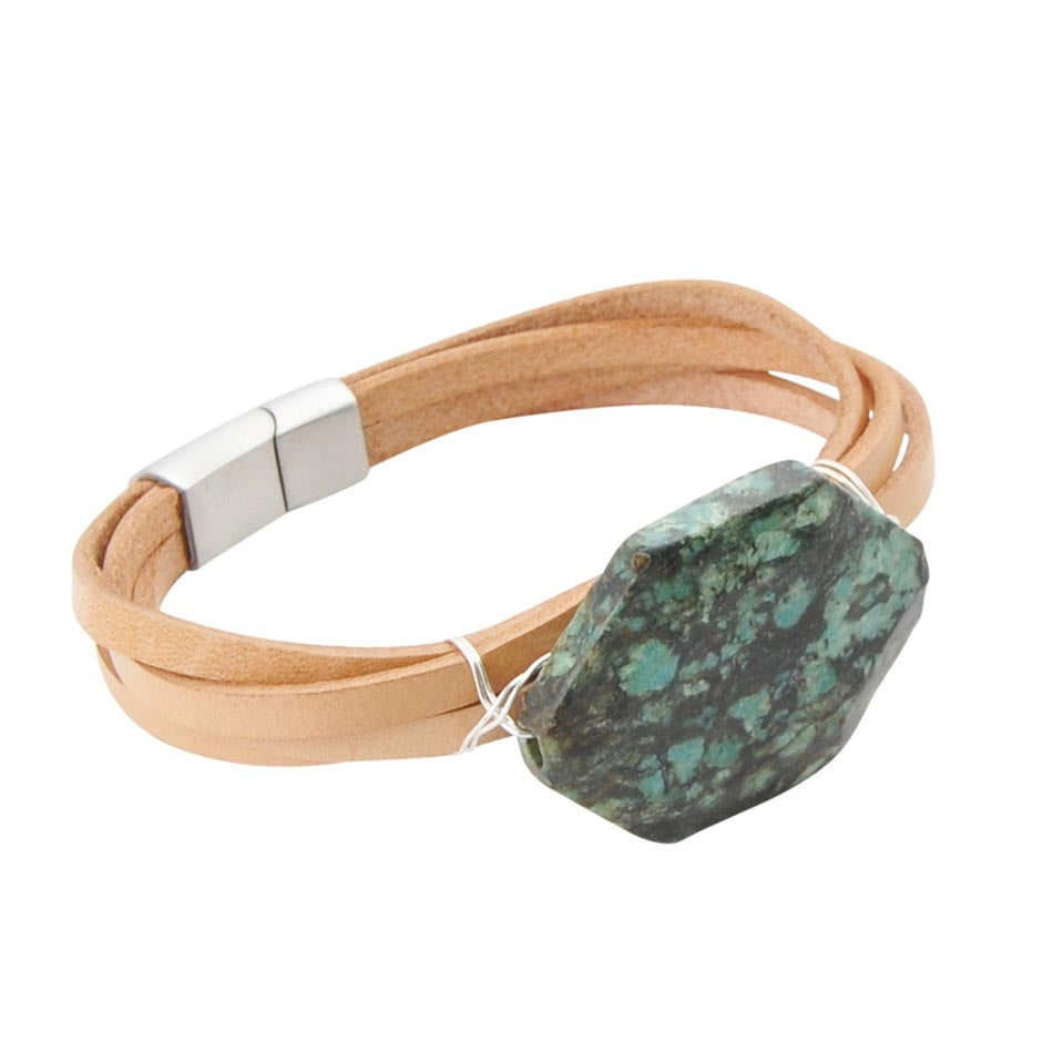 Chrysocolla and Leather Magnetic Bracelet