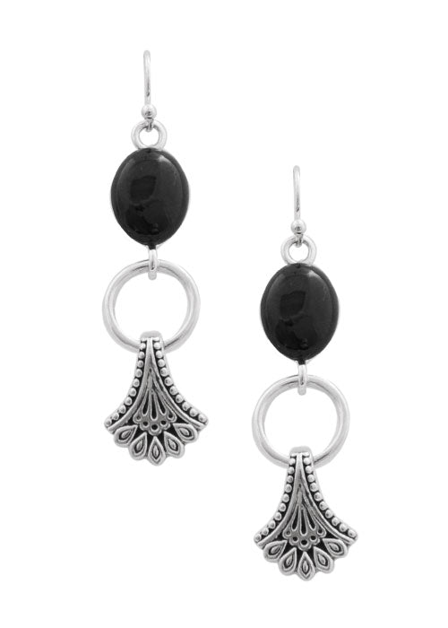 Black Onyx Fan Earring