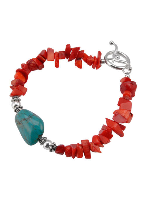 Red Sea Bamboo Turquoise Nugget Bracelet