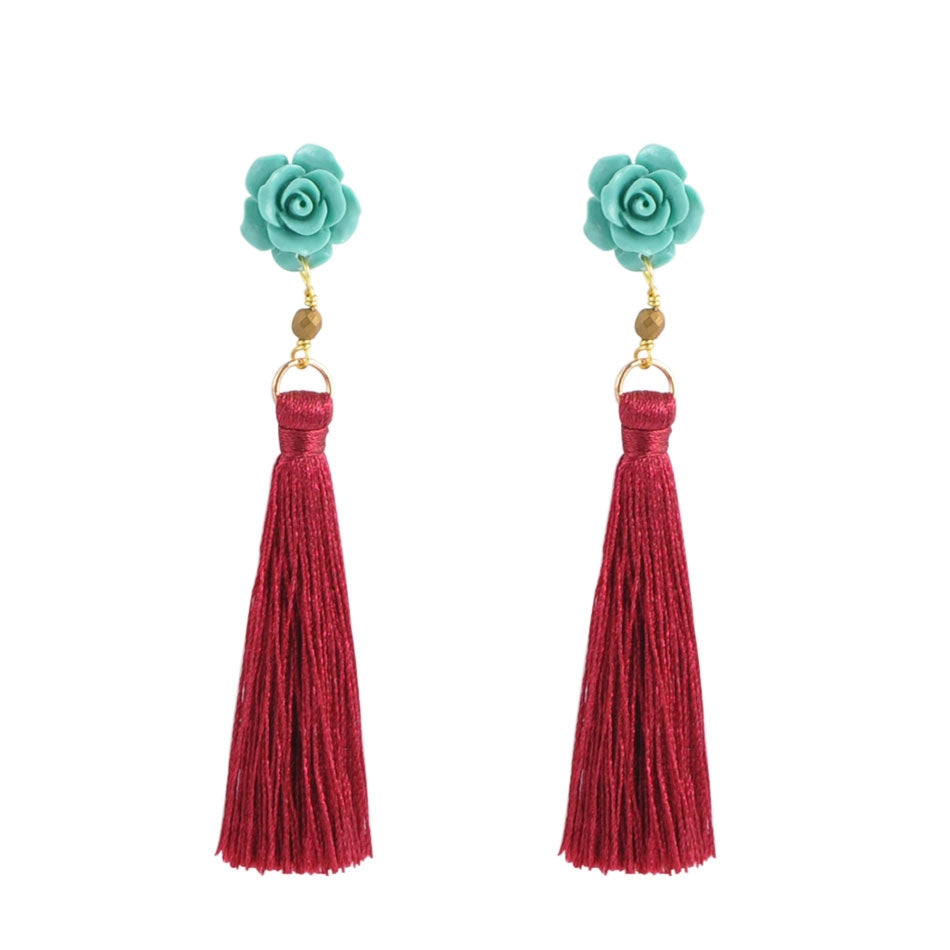 Pretty as a Rose Carved Earring - Turquoise